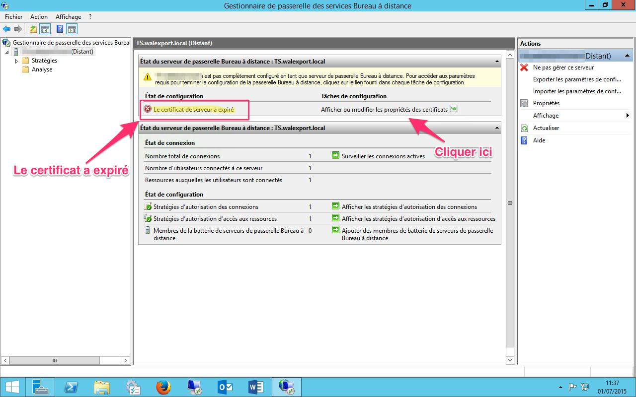 Renouvelerrecrer un certificat Remote desktop expir RDS sous