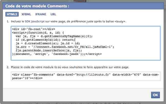 code commentaire facebook