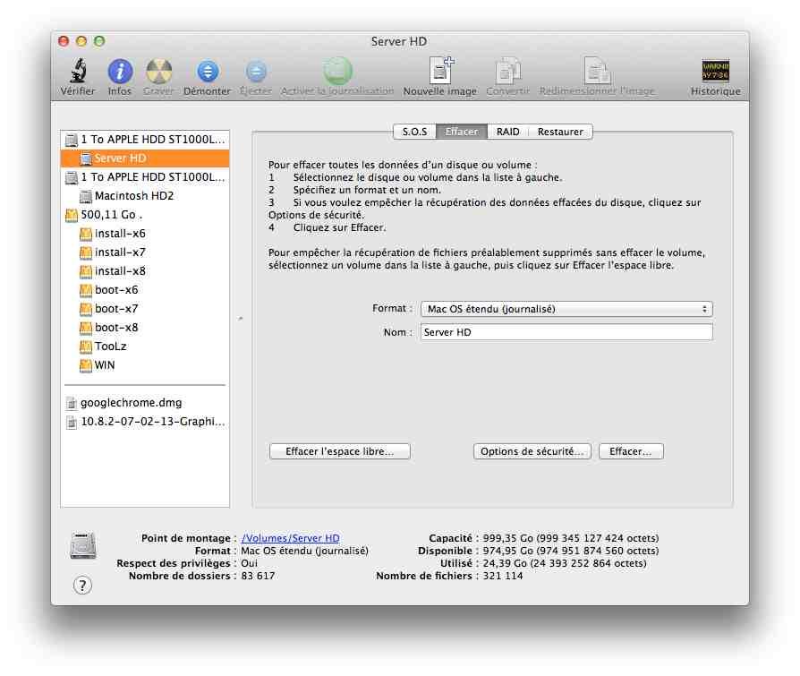 formater effacer disque dur mac os