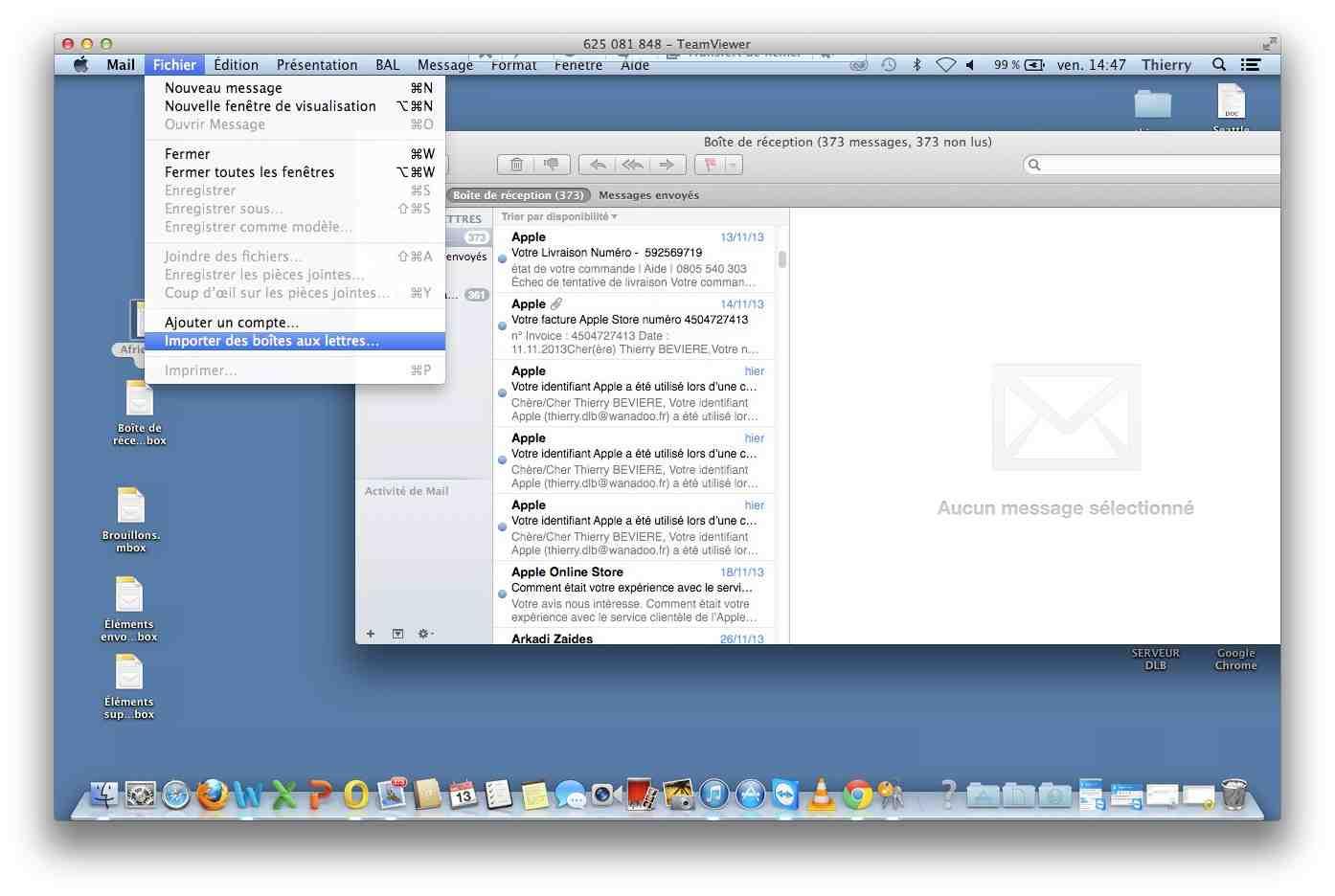 mail importer des boites aux lettres