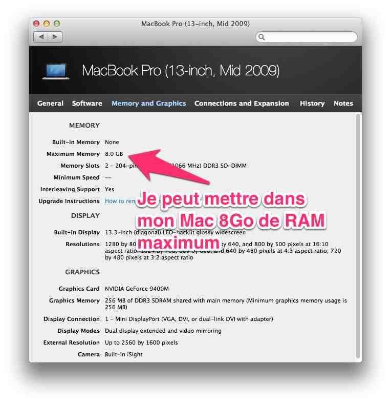 macbook mactracker memoire ram
