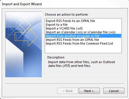 importer autre program fichier