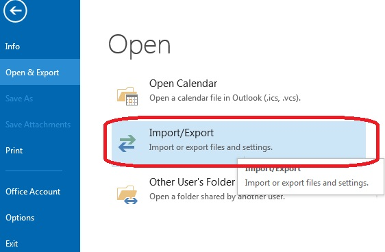 outlook importer exporter