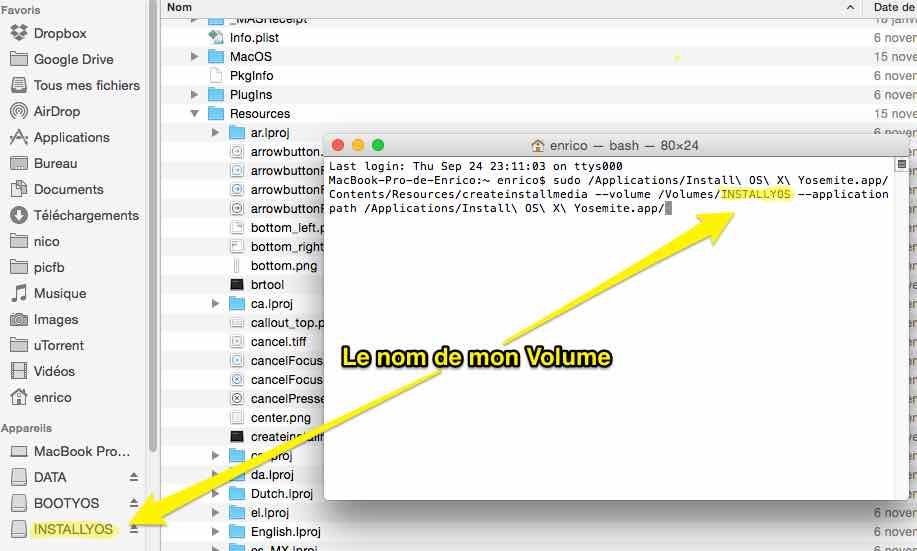 Créer une partition bootable de Yosemite en ligne de commande – Via le TERMINAL – Mac OS X