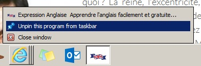 detacher site web barre tache