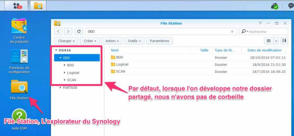 filestation synology sans corbeille