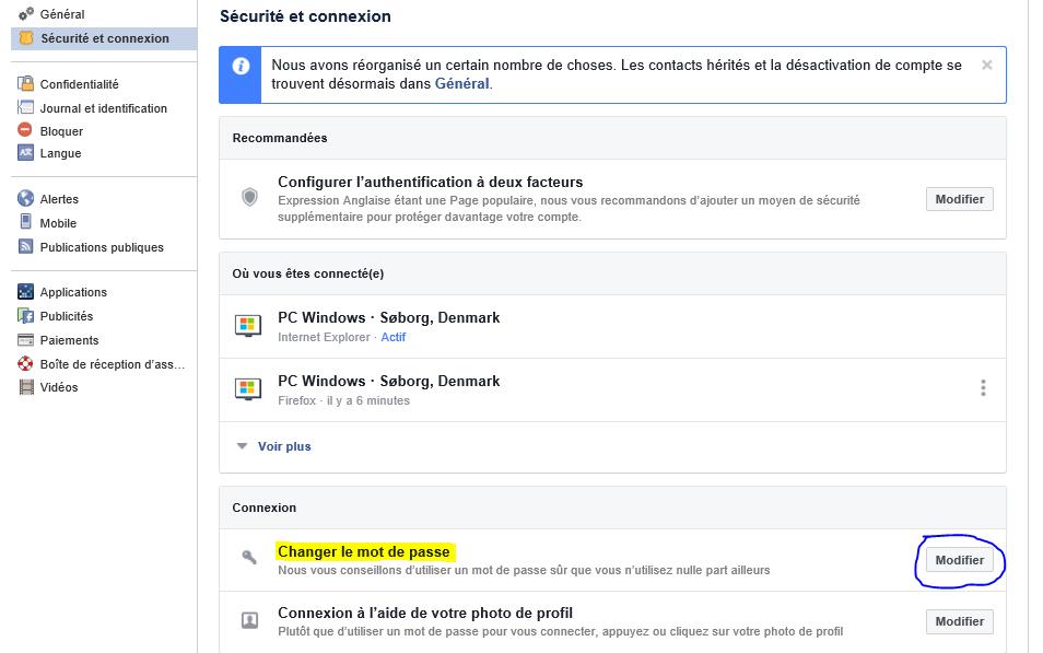 Changer mot de passe facebook