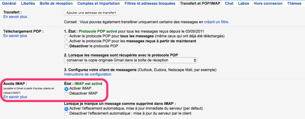 activer imap gmail