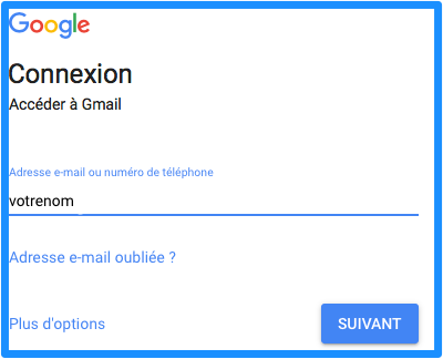 gmail connexion sans ndd