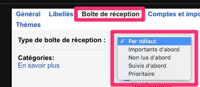 type boite reception