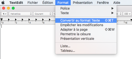 textedit convertir format text