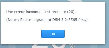 erreur mise à jour dsm 5.2
